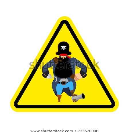 Attention pirate. Yellow warning sign rover. Caution filibuster Stock photo © popaukropa