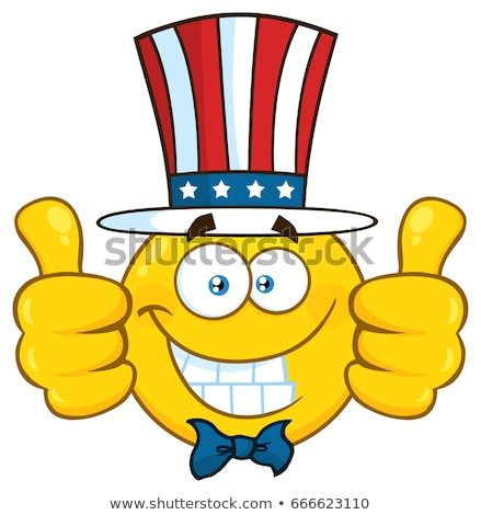 Smiling Patriotic Yellow Cartoon Emoji Face Character Wearing A USA Hat And Giving Two Thumbs Up Stock photo © hittoon