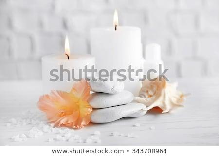 Oranje spa gezondheidszorg donkere houten ruimte Stockfoto © Lana_M