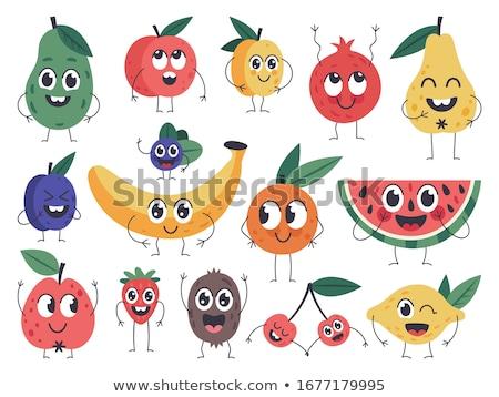 Zâmbitor verde pepene verde fructe proaspete mascota de desene animate Imagine de stoc © hittoon