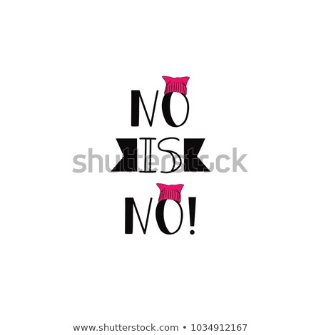 woman with a pink hat and the text stop violence Stock photo © nito