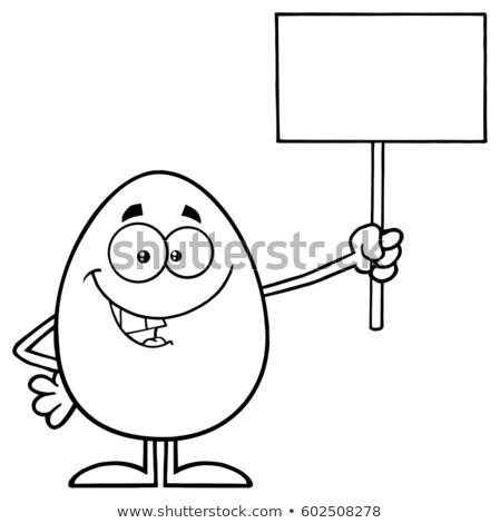 Czarno białe mówić jaj maskotka cartoon charakter Zdjęcia stock © hittoon