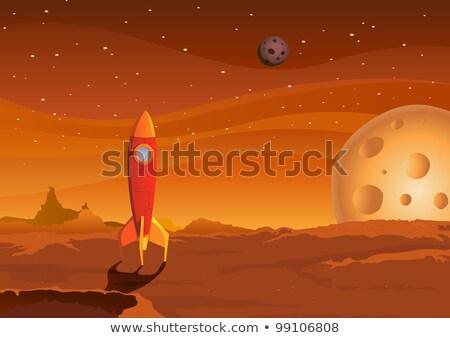 Spaceship Landing On Martian Red Desert Stock photo © benchart