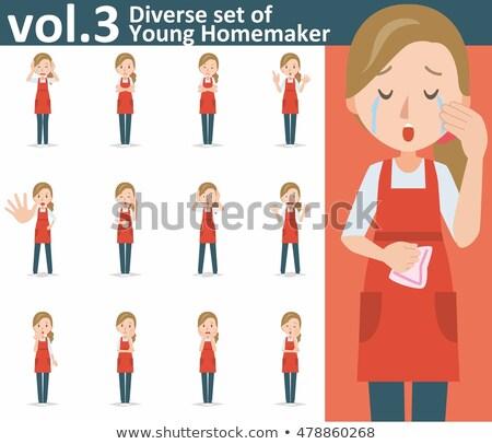 Huilen vrouw wijzend omhoog pop art retro Stockfoto © studiostoks