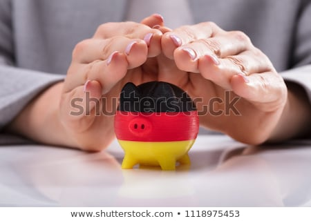 Woman Protecting Piggybank Painted With German Flag Stock photo © AndreyPopov