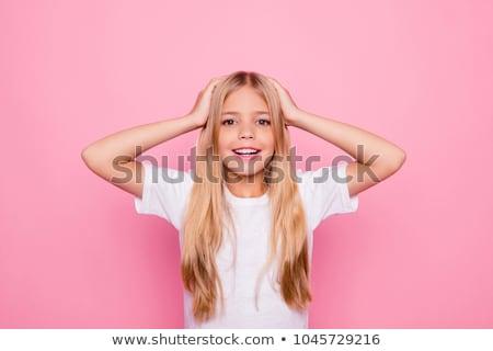 confuso · menina · ilustração · pensando · coisas · microfone - foto stock © studiostoks