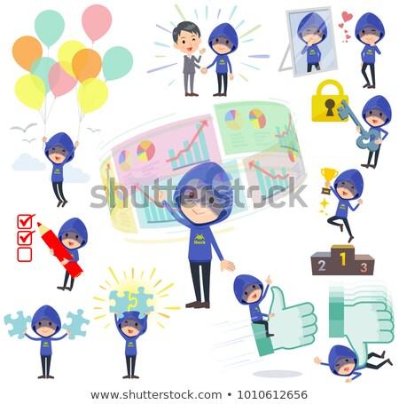 синий · хакер · положительный · бизнеса · безопасности · мужчин - Сток-фото © toyotoyo