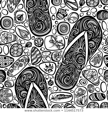 Monochrome Seamless Pattern with Sea Pebbles and Flip-flops Stock photo © lissantee