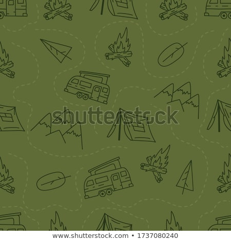 Vintage hand drawn camping seamless pattern with adventure icons. Hiking shapes - matches and carabi Stock photo © JeksonGraphics
