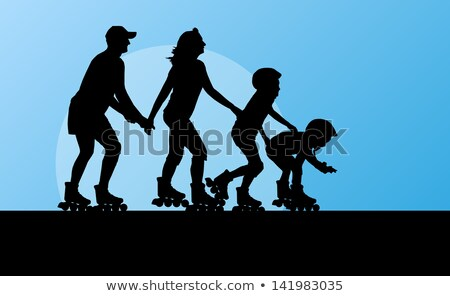 Father And Children Skating On Roller Skates Vector. Isolated Illustration Stock photo © pikepicture