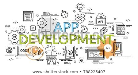 Interface ontwerp ontwikkeling kleurrijk poster reusachtig Stockfoto © robuart