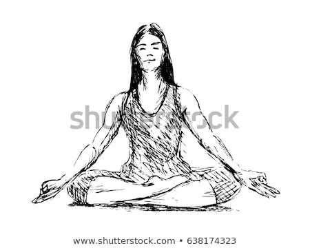 Yoga sketch illustrazione bianco sport corpo Foto d'archivio © get4net