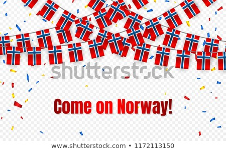 Norway garland flag with confetti on transparent background, Hang bunting for celebration template b Stock photo © olehsvetiukha