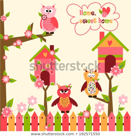 Cartoon birdhouse isolated on white background. Vector cartoon close-up illustration. Stock photo © Lady-Luck