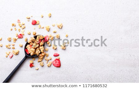 organic cereal granola bar with berries with honey spoon and jar of oats and bottle of milk drink on stock photo © denismart