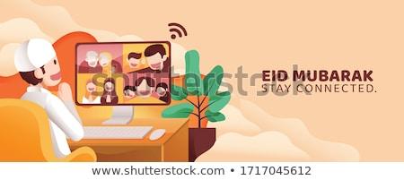 muszlim · család · rajzfilmfigura · nő · lány · baba - stock fotó © colematt