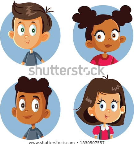 Girl Avatar Set Kid Vector. Black. Afro American. Primary School. Face Emotions. Kid, Child. Beautif Stock photo © pikepicture