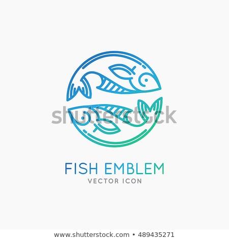fish logo stylized icon blue design vector element stock photo © blaskorizov