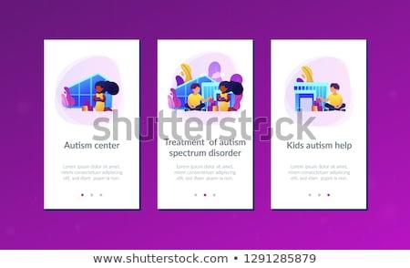 Autizmus központ app interfész sablon gyerekek Stock fotó © RAStudio