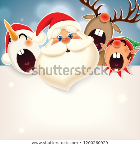 holiday greeting cards with santa snowman elf stock photo © robuart