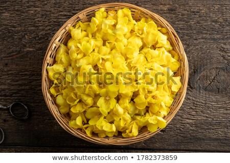 fraîches · fleurs · osier · panier · haut · vue - photo stock © madeleine_steinbach