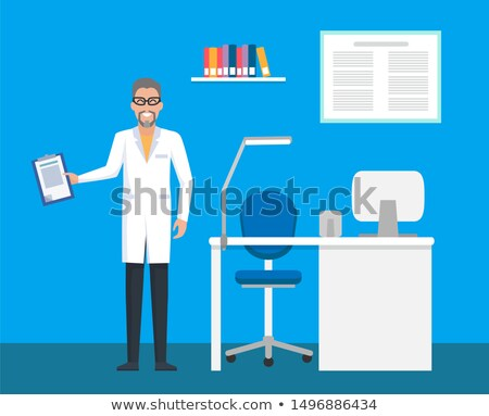 Stok fotoğraf: Veterinary Clinic Room Doctor With File Clipboard
