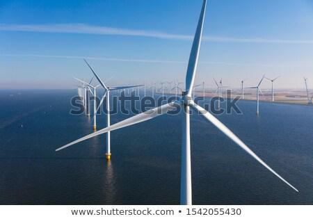 moinho · de · vento · céu · belo · um · colina · blue · sky - foto stock © Yongkiet