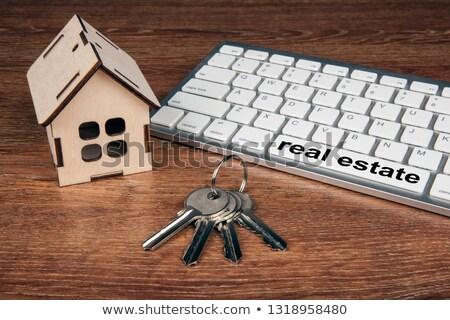 Miniatura casa puerta claves pc Foto stock © mizar_21984