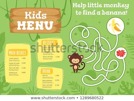 majom · puzzle · gyerekek · játék · rajz · szabadtér - stock fotó © colematt