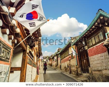 Casa bandeira Coréia do Sul branco casas Foto stock © MikhailMishchenko
