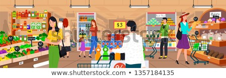 Supermarket Seller of Bread and Bakery Vector Stock photo © robuart