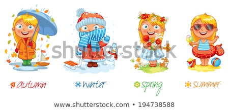 Four cute girls in winter clothes Stock photo © colematt