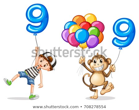 Boy and monkey with balloons for nine Stock photo © colematt