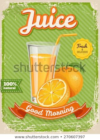 вектора апельсиновый сок плакат Vintage стиль типографики Сток-фото © Giraffarte