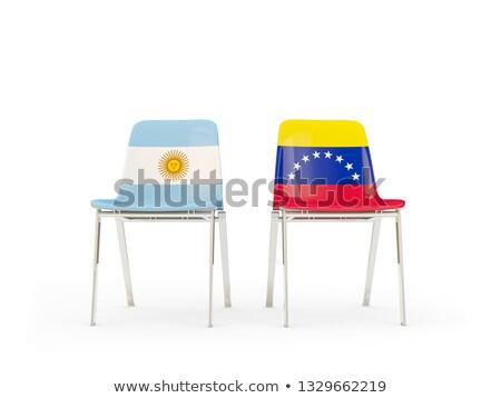 Twee stoelen vlaggen Argentinië Venezuela geïsoleerd Stockfoto © MikhailMishchenko