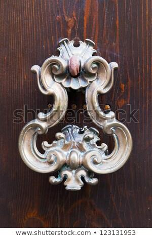 Włoski drzwi uchwyt brązowy starożytnych budynku Zdjęcia stock © marylooo