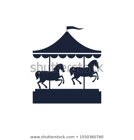 Kinderen paard carrousel icon kleur ontwerp Stockfoto © angelp