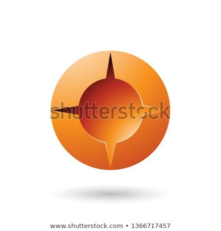 Stockfoto: Orange And Bold Shaded Round Icon Vector Illustration