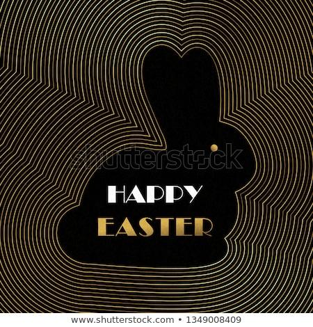 Kellemes húsvétot arany art deco kártya nyuszi tojások Stock fotó © cienpies