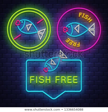 Fish Free badge collection . Allergy sign. Neon sign Stock photo © balasoiu