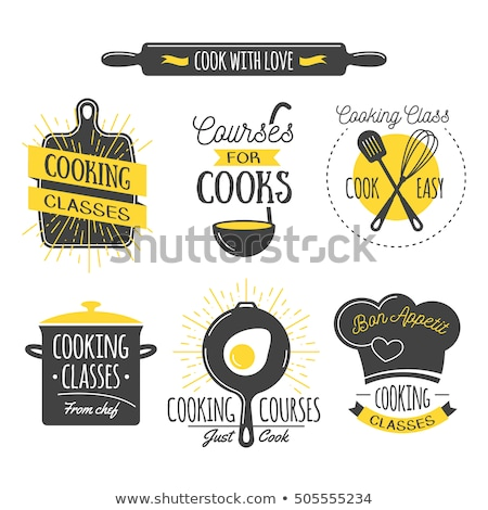 Color vintage cooking school emblem Stock photo © netkov1