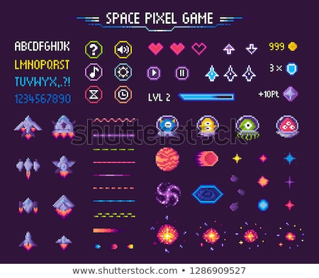 Space Pixel Game Icons Font and Cosmic Characters Stock fotó © robuart