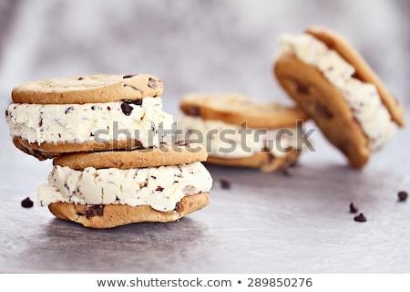Lezzetli çikolata cips kurabiye dondurma gözleme Stok fotoğraf © BarbaraNeveu