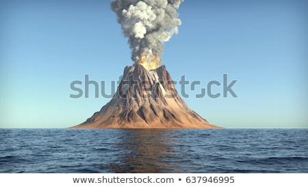 Vulkan Ausbruch Insel Illustration Strand Baum Stock foto © colematt