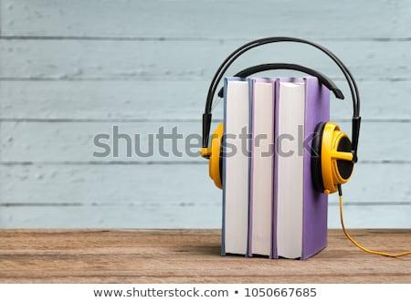 Audio książki słuchawki kawy drewniany stół górę Zdjęcia stock © karandaev