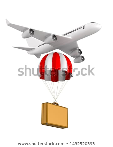 travel bag with parachute and airplane on white background. Isol Stock photo © ISerg