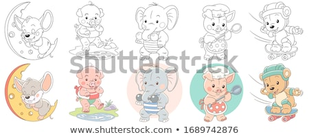 pig or piglet animal character cartoon illustration Stock photo © izakowski