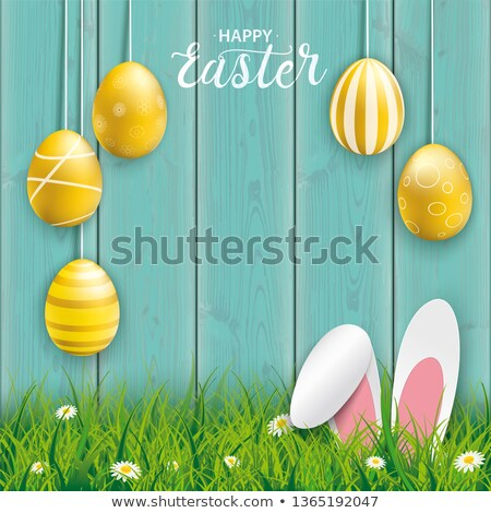Hanging Golden Easter Eggs Hare Ears Cyan Wood Stock photo © limbi007