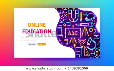 Back to School Neon Landing Page Stock photo © Anna_leni