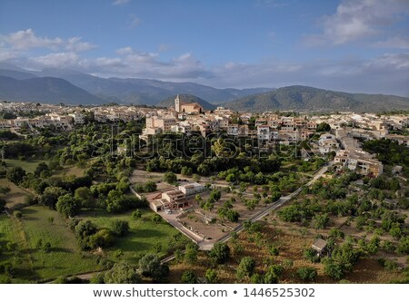 Aerial distant photo drone point of view image Campanet town hil Stock photo © amok